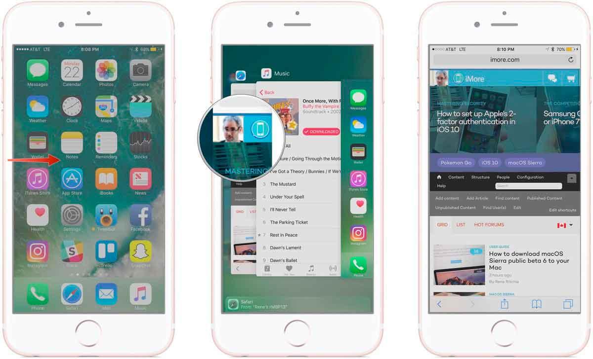 переключение между приложениями в айфоне