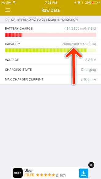 показатель текущей емкости и maH для батаери айфона