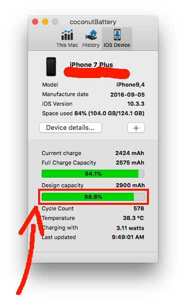 проверяем батарею на айфон 7 плюс с приложением coconut battery