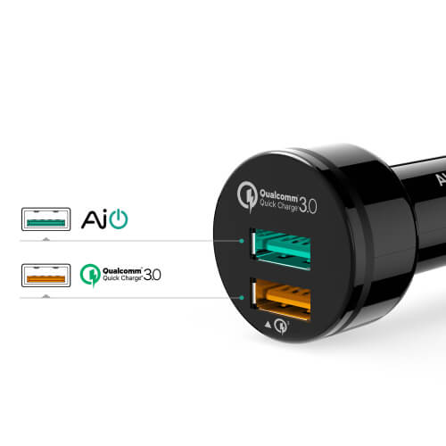 фото aukey 2 usb quick charge 3.0 - черного света CC-T7